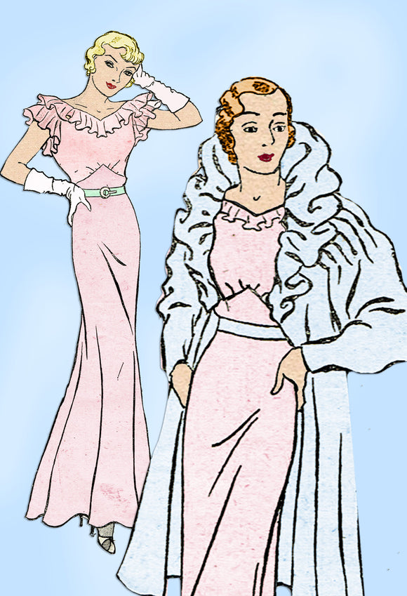 New York 1211: 1930s Plus Size Evening Gown & Coat Sz 40B Vintage Sewing Pattern - Vintage4me2