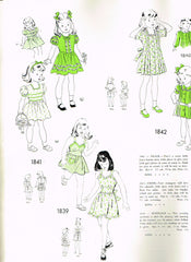 1940s Original Vintage New York Sewing Pattern 1841 Toddler Girls Dress Size 2