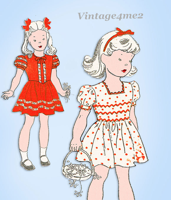 1940s Original Vintage New York Sewing Pattern 1841 Toddler Girls Dress Size 4
