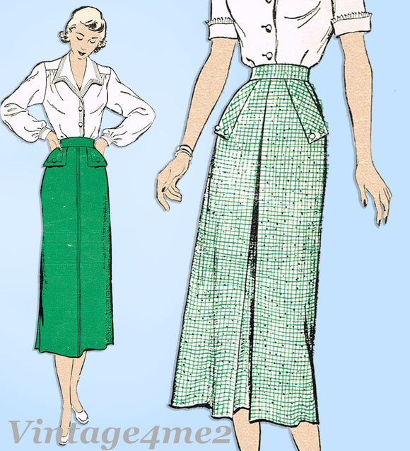 New York 372: 1950s Uncut Misses Skirt w Pockets Sz 32 W Vintage Sewing Pattern