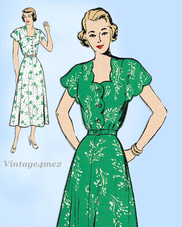 New York 455: 1940s Uncut Misses Scalloped Dress Sz 32 B Vintage Sewing Pattern
