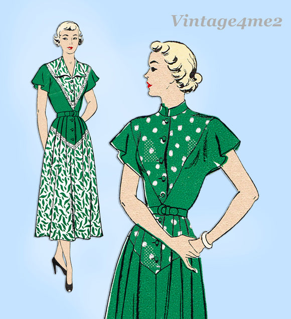New York 622: 1940s Uncut Misses Day Dress Size 32 Bust Vintage Sewing Pattern