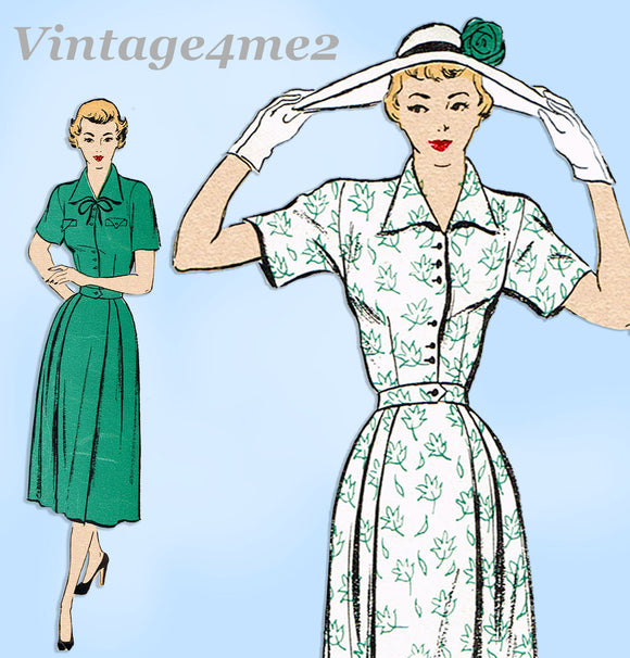 New York 882: 1950s Uncut Misses Shirtwaist Dress Sz 34 B Vintage Sewing Pattern