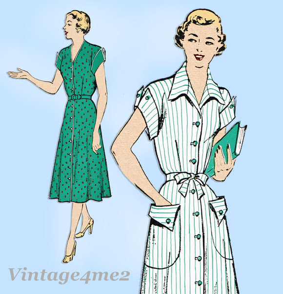 New York 888: 1950s Uncut Misses Day Dress Size 38 Bust Vintage Sewing Pattern