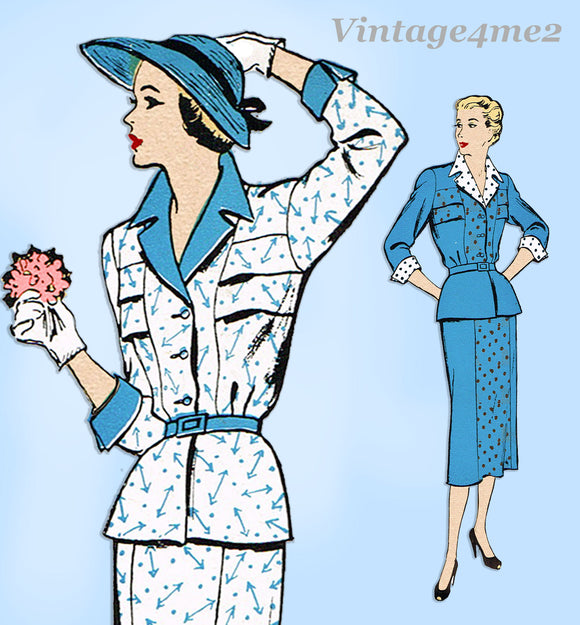 New York 979: 1950s Uncut Misses Slender Suit Sz 36B Vintage Sewing Pattern