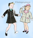New York 1326: 1940s Uncut Girls Coat & Hat Size 4 Vintage Sewing Pattern - Vintage4me2