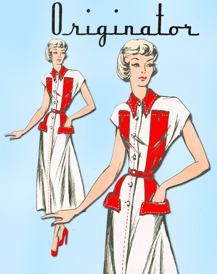 1940s Very Rare Originator Designer Pattern 276 Misses' Dress w Banded Trim 30B - Vintage4me2