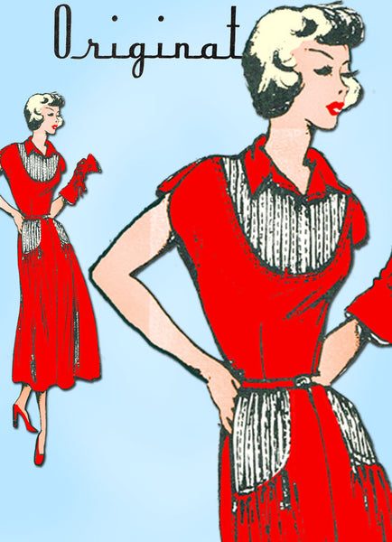 1940s Very Rare Originator Designer Pattern 323 FF Misses Dress Tucked Yoke 30B - Vintage4me2