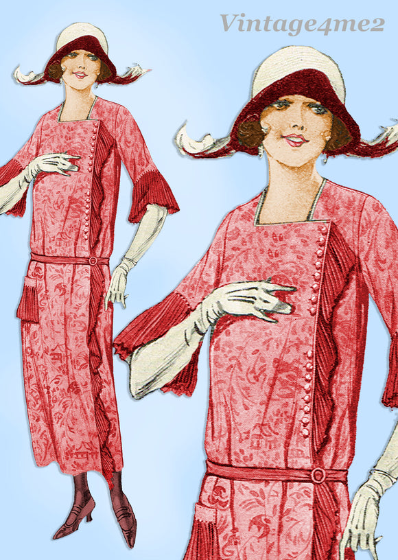 Pictorial Review 1893: 1920s Misses Flapper Dress Sz 37 B Vintage Sewing Pattern