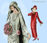 Pictorial Review 1940: 1920s Womens Flapper Wedding Dress Sz 42B Vintage Sewing Pattern