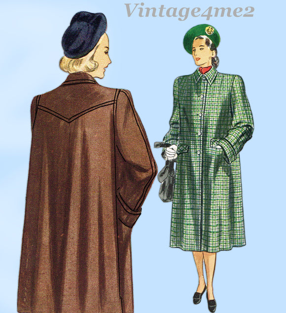 Simplicity 2232: 1940s Stylish Women's Coat Size 36 Bust Vintage Sewing Pattern