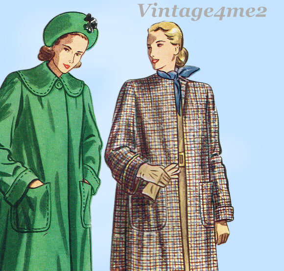 Simplicity 2331: 1940s Stylish Women's Coat Size 36 Bust Vintage Sewing Pattern