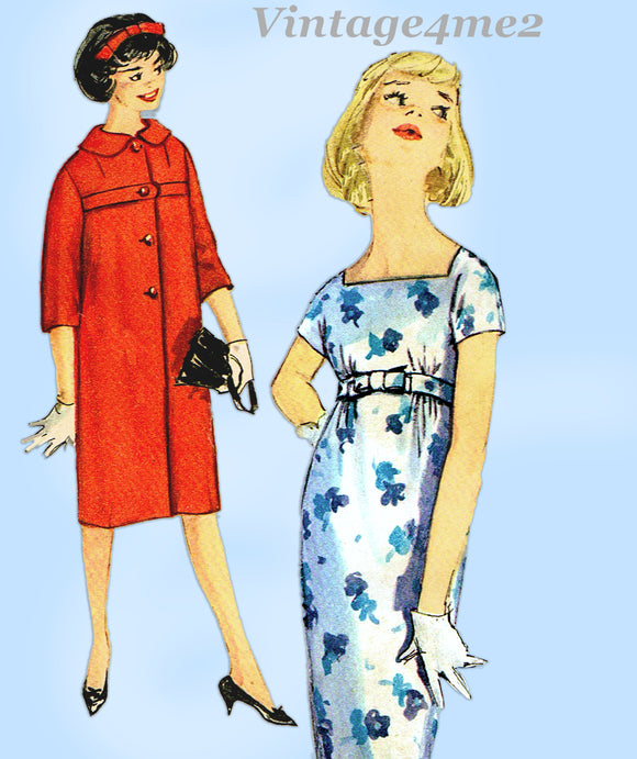 1950s Vintage Simplicity Sewing Pattern 2856 Misses Wiggle Dress & Coat Sz 34 B