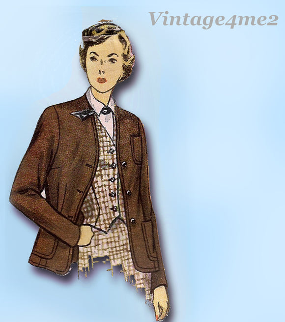 Simplicity 2936: 1940s Misses Jacket or Blazer Sz 34 Bust Vintage Sewing Pattern