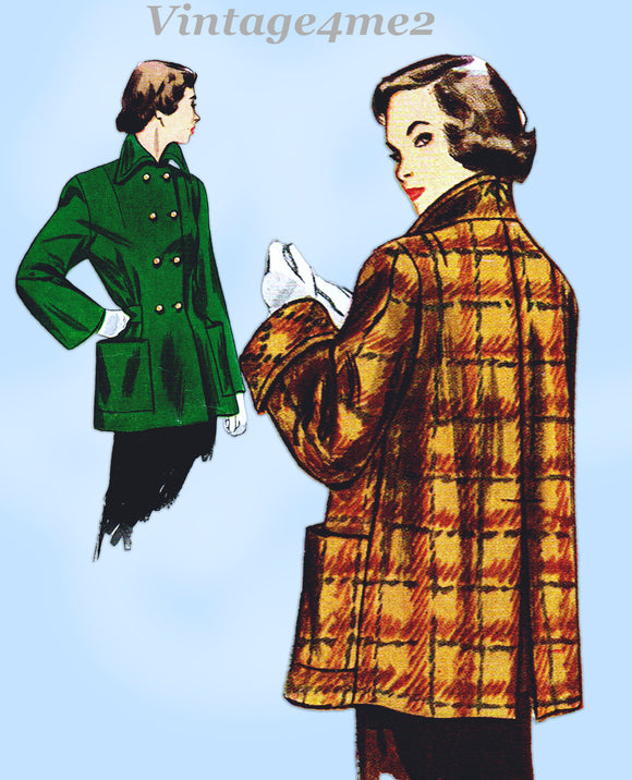 Simplicity 2949: 1940s Stylish Women's Coat Size 32 Bust Vintage Sewing Pattern