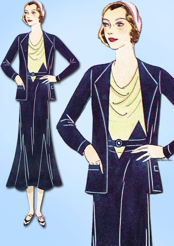 Simplicity 1001: 1930s Plus Size Dress & Jacket 42 Bust Vintage Sewing Pattern - Vintage4me2