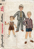 1950s Vintage Simplicity Sewing Pattern 1019 Cute Toddler Boys 3 Piece Suit Sz 2