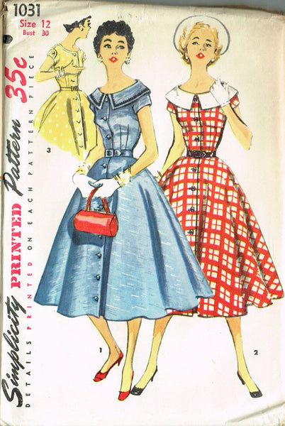 1950s Vintage Misses' Day Dress Uncut 1955 Simplicity Sewing Pattern 1031 Sz 12