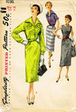 1950s Vintage Simplicity Sewing Pattern 1036 Misses Dress and Jacket Size 32 Bust