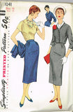 1950s Vintage Simplicity Sewing Pattern 1041 Uncut Misses' 3 Pc Suit Size 16 34B