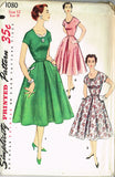 1950s Vintage Simplicity Sewing Pattern 1080 Uncut Misses Cocktail Dress 30 B