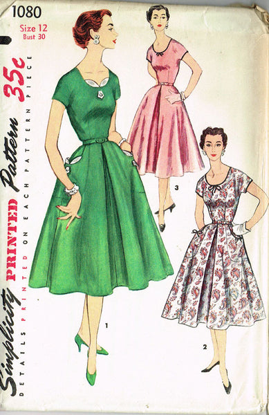 1950s Vintage Simplicity Pattern 1080 Misses Dress 1080 Size 12 Uncut!