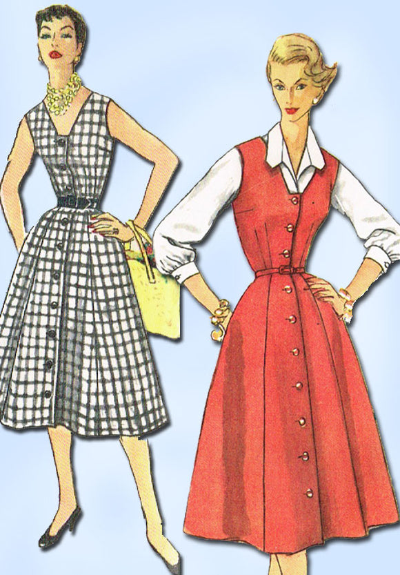 1950s Vintage Simplicity Sewing Pattern 1094 Misses Jumper or Dress Sz 16 Uncut!