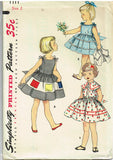 1950s Vintage Simplicity Sewing Pattern 1111 Toddler Girls Sun Dress Size 2 21B