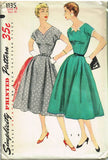 1950s Vintage Simplicity Sewing Pattern 1135 Uncut Misses' Street Dress Size 18