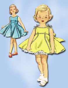 1950s Vintage Simplicity Sewing Pattern 1148 Uncut Girls Party Dress Size 6 24B