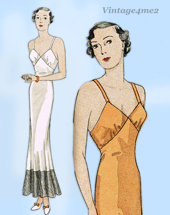 Simplicity 1466: 1930s Misses Evening Slip w Flounce 32 B Vintage Sewing Pattern