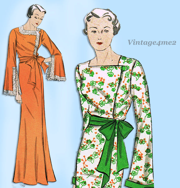 Simplicity 1470: 1930s Glamorous Misses Housecoat 34 B Vintage Sewing Pattern