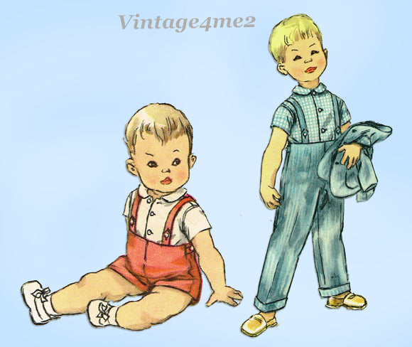 1950s Vintage Simplicity Sewing Pattern 1483 Baby Boy's 3 Piece Suit Size 3