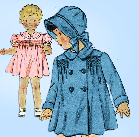 Simplicity 1839: 1930s Toddler Girl Smocked Dress Coat Vintage Sewing Pattern - Vintage4me2