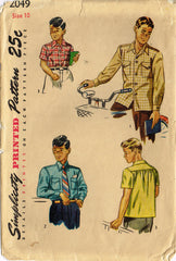 1940s Vintage Simplicity Sewing Pattern 2049 Classic Little Boys Shirt Size 10