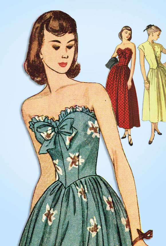 1940s Vintage Simplicity Sewing Pattern 2395 Misses Strapless Gown & Bolero 30 B - Vintage4me2