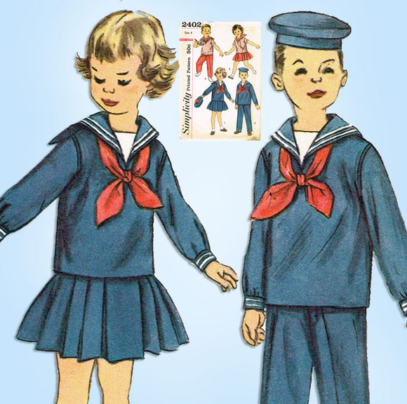 1950s Vintage Simplicity Sewing Pattern 2402 Twins Sailor Suit Size 4 - Vintage4me2
