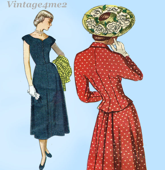 Simplicity 2402: 1940s Stylish Misses Dress & Jacket 30B Vintage Sewing Pattern
