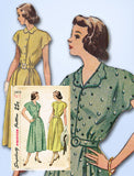 1940s Vintage Simplicity Sewing Pattern 2473 Misses Scalloped Dress Sz 36 B