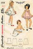 1940s Vintage Simplicity Sewing Pattern 2558 Uncut Girls Embroidered Slip & Panties Sz 2 - Vintage4me2