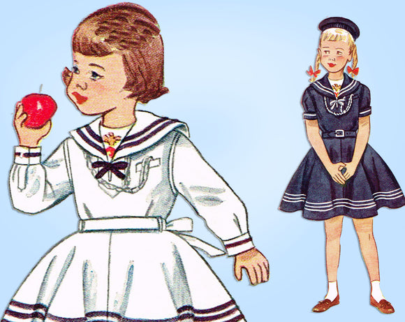 1940s Original Vintage Simplicity Sewing Pattern 3151 Toddler Sailor Dress Sz 2 - Vintage4me2