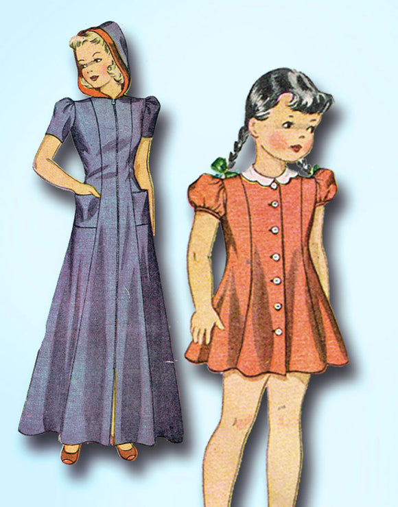 1940s Vintage Simplicity Sewing Pattern 3648 WWII Girls Hooded Housecoat Size 6 - Vintage4me2
