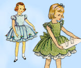 1950s Vintage Simplicity Sewing Pattern 3868 Toddler Girls Party Dress Size 6