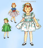 1950s Original Vintage Simplicity Sewing Pattern 4128 14 Inch Toddler Doll Clothes