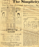 Simplicity 448: 1930s Uncut Little Girls Dress Size 8 Vintage Sewing Pattern