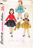 1950s Vintage Simplicity Sewing Pattern 4823 FF Toddler Girls Suit Size 2 21B