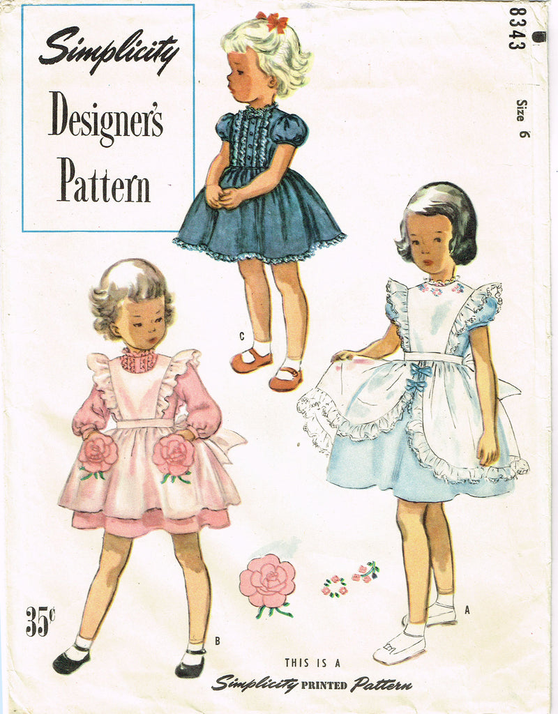 1950s Simplicity Designer Sewing Pattern 8343 Uncut Girls Party ...