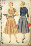 1950s Vintage Simplicity Sewing Pattern 8470 Misses Dress & Jacket Size 16 34B
