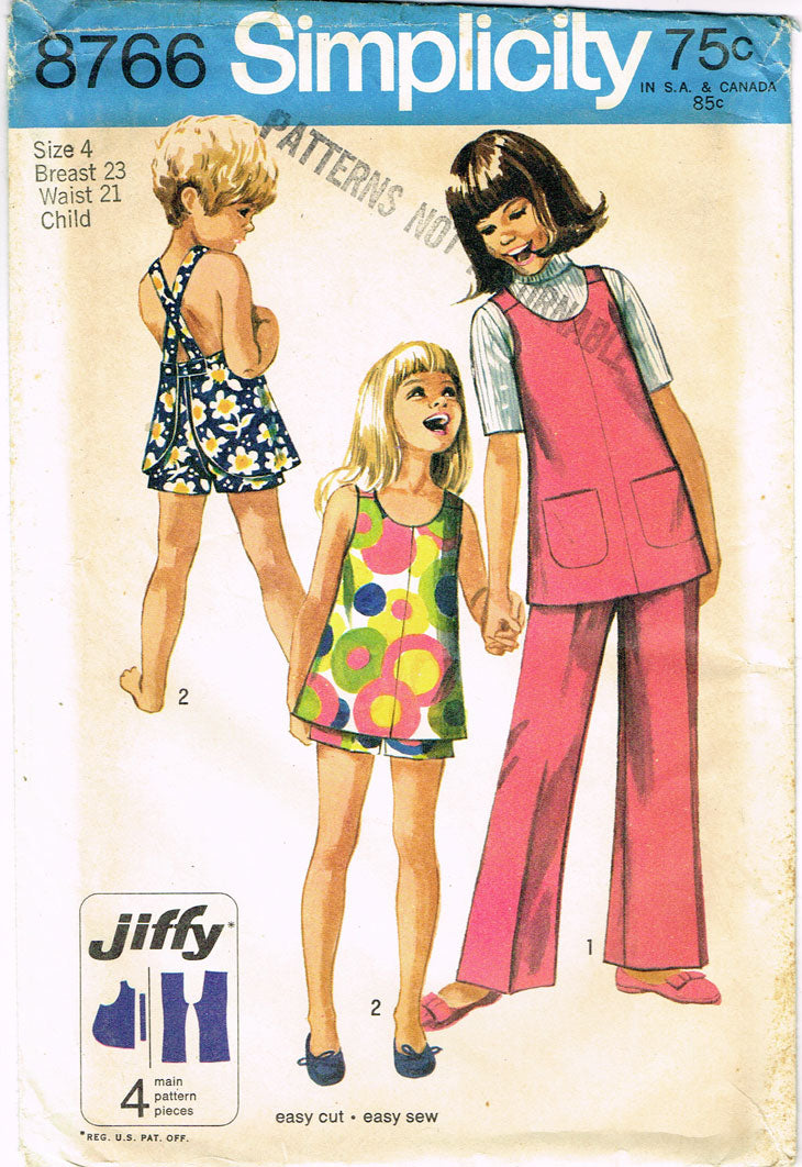 1960s Vintage Simplicity Sewing Pattern 8766 Toddler Girls Play Clothes Set  Sz 4