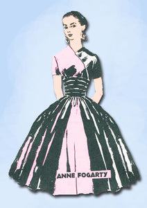1950s Vintage Spadea Designer Sewing Pattern 1223 Anne Fogarty Cocktail Dress